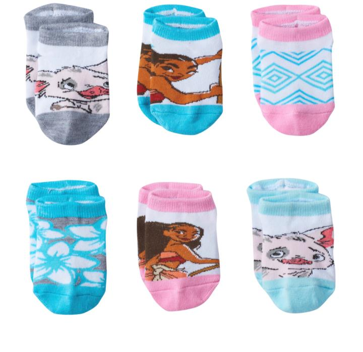 Disney MOANA Toddler Girls 6 Pack Low Cut Socks Size 2T- 4T NWT
