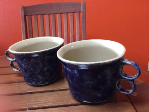 Lot of 6 Bennington Potters Blue Agate 1537 Trigger Soup Mugs