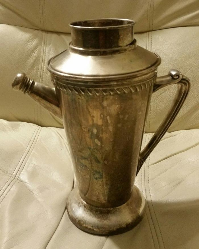 Vintage SILVER 'RECIPES' COCKTAIL plate dial PITCHER shaker 1930's