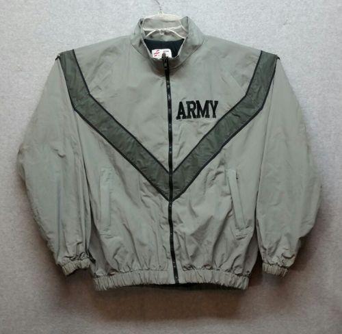 Army IPFU Jacket Small Long Gray Men PT Reflective Military Issue Tear - K32