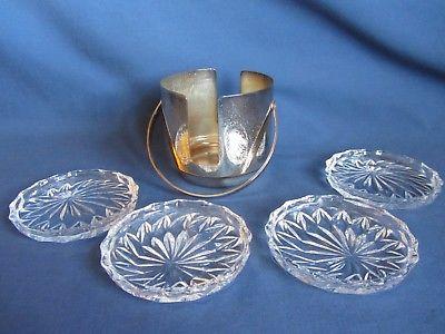 Set 4 Pressed Glass Vtg Drink Coasters Silver Plated Holder Handle West Germany