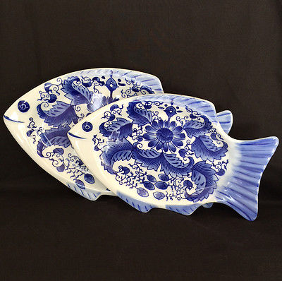 Two Oriental Ware Floral Blue & White Fish Shaped Decorative Platters