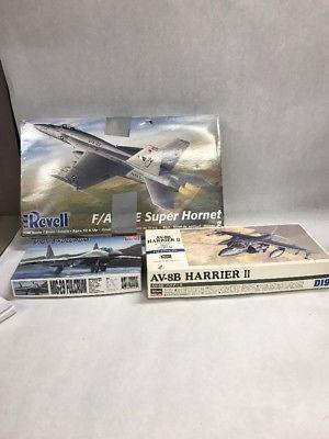 Lot 3 airplane Model kits in box  RevellHarrier Hornet Fulcrum Jets  VINTAGE