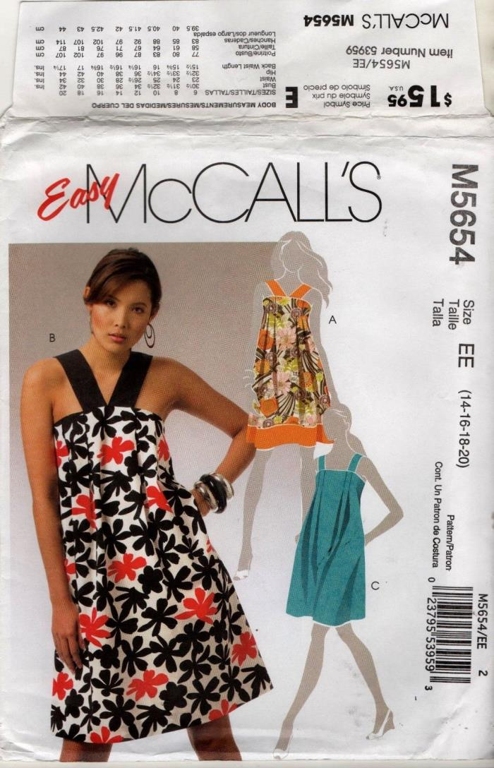 M5654  MCCALLS WOMENS sizes 14 16 18 20  pretty dress sundresses sewing pattern