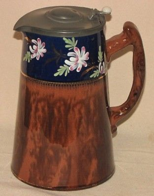 Vintage England Pottery Brown Hand Painted Floral Teapot Pitcher Jug w Metal Lid