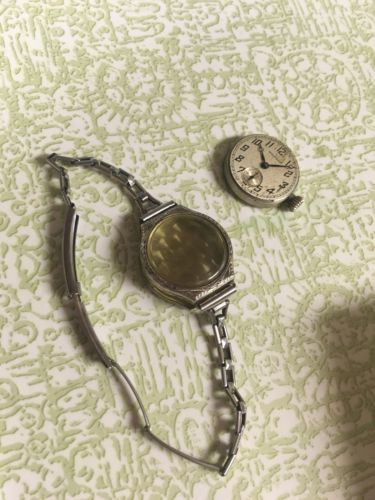 VINTAGE 1920's LADIES WALTHAM WRIST WATCH 7 Jewels 14K White GOLD FILLED CASE