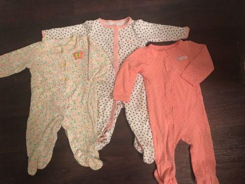 Carters Baby Girl 9 Month Pj Lot Bodysuit Long Sleeve Lightweight Pajamas