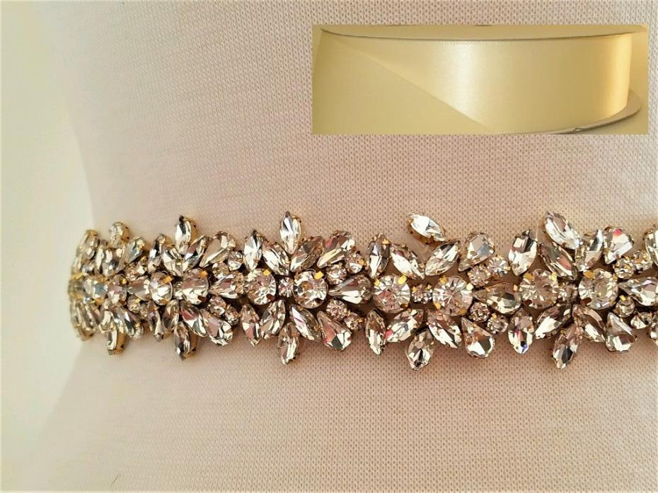 Wedding Bridal Sash Belt, Light GOLD Crystal Sash Belt = 19