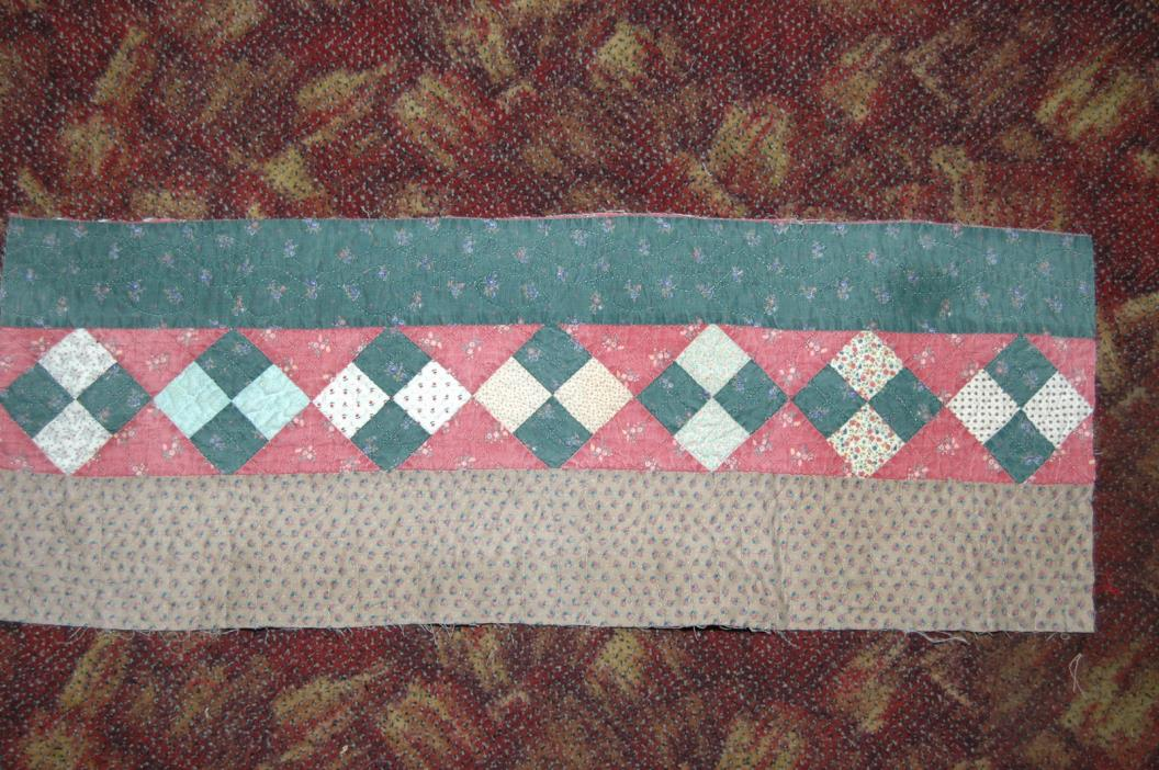Antique Hand Quilted Patchwork Cotton Quilt Piece