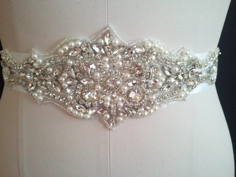 Wedding Bridal Sash Belt, CRYSTAL PEARL Wedding Dress Sash Belt = 19 INCH LONG