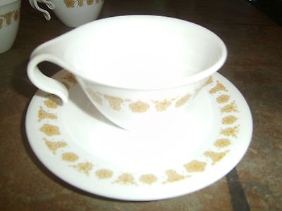CORELLE 'BUTTERFLY GOLD' HOOK CUP & SAUCER SET,  EUC,  (12) AVAILABLE