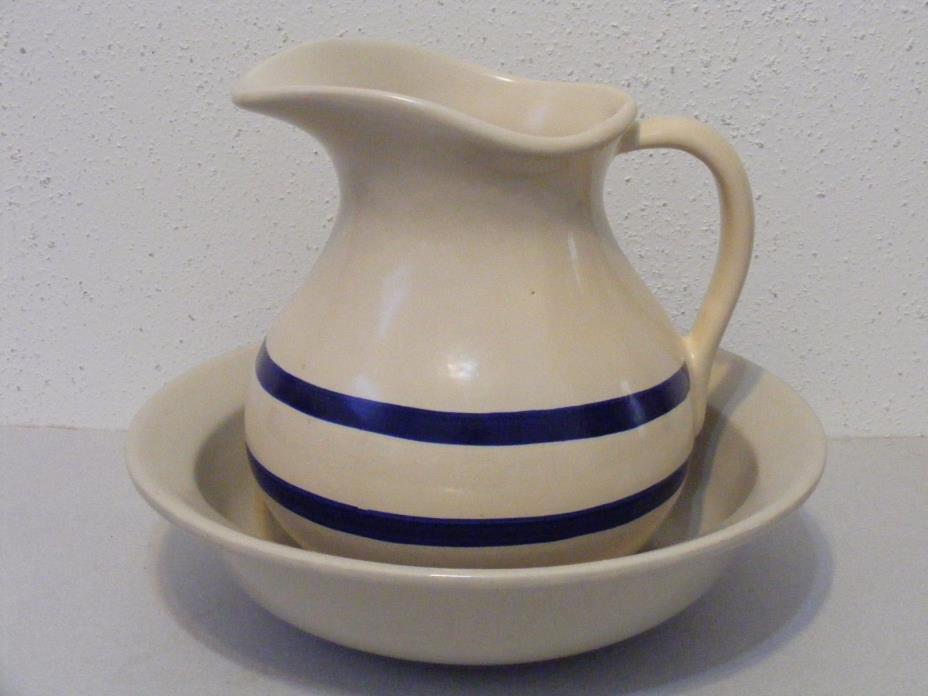 Robinson Ransbottom Roseville basin bowl & pitcher set blue stripe pottery