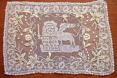 Lace Doily Placemat Embroidered Whitework Filet Antique Vintage Table Tray Mat