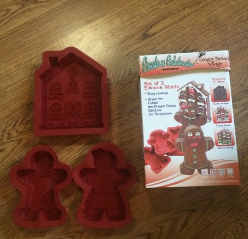 """Silicone Baking Molds Pans Gingerbread Man 9"""" House 10"""
