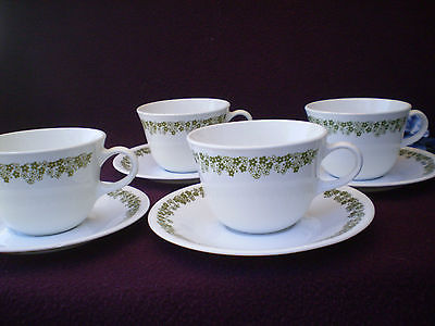 Corelle Dishes Spring Blossom Centura Round Bottom Cups With Saucers 4 Sets