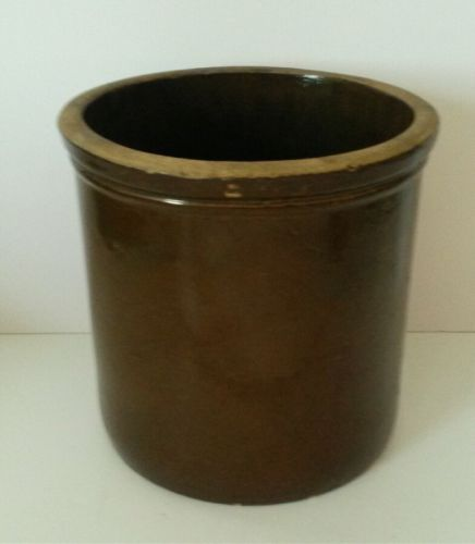 Antique Brown Salt Glazed Kitchen Crock Primitive Country 8