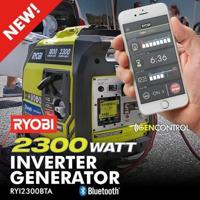 NEW Ryobi 2300 Watt Smart Bluetooth Quiet Portable Gas Power Inverter Generator