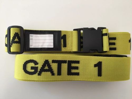 Yellow luggage baggage strap with name tag