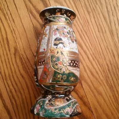 Satsuma Porcelain Sugar Shaker (Hat Pin Holder) Oriental Geisha Cork Stopper