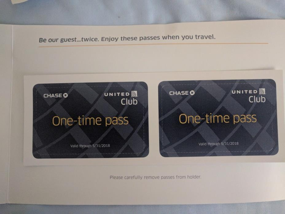 2 United Club One-Time Passes - Valid Through 5/30/2018