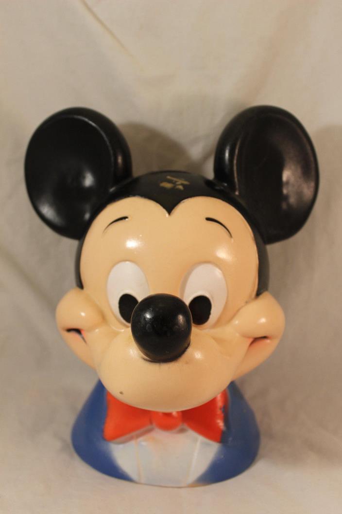 Vtg WALT DISNEY Mickey Mouse Head Bust Play Pal Piggy Coin Bank Plastic 1971