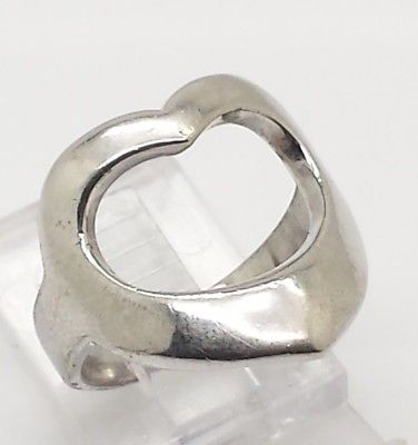 Fine Open Heart Band Design Sterling Silver 925 Ring 5g Sz.6 Y2121