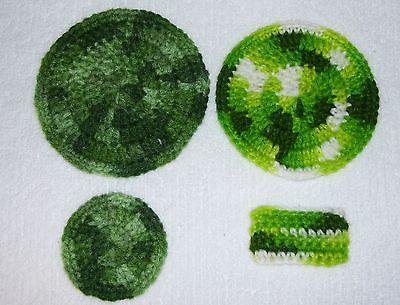 Lot of 4 Handmade Crochet Doll House Rugs---Green Tones & Green & White Vari.