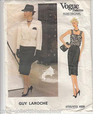 Camisole Jacket Skirt  Vogue Pattern 1529 Guy Laroche Paris Original Size 10