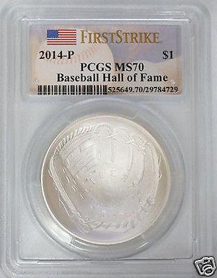 2014-P Baseball HOF $1 Silver Commem MS-70 PCGS (FS) Hall of Fame First Strike