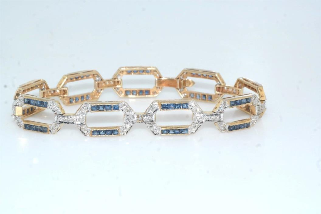 Diamond & Square Sapphire 14k Yellow Gold Geometric Link Bracelet