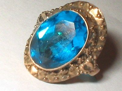 Sterling silver 14K yellow gold plated Oval 6ct London Blue Gem ring Sz 6.25