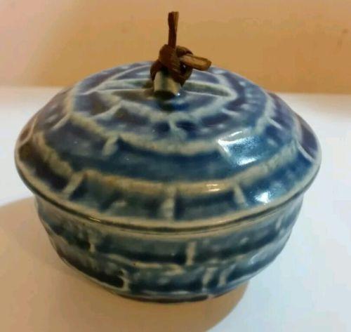 MARKED Vintage blue JAPANESE DONABE POTTERY HOT POT/ LIDDED TEA BOWL/ PASTE BOX