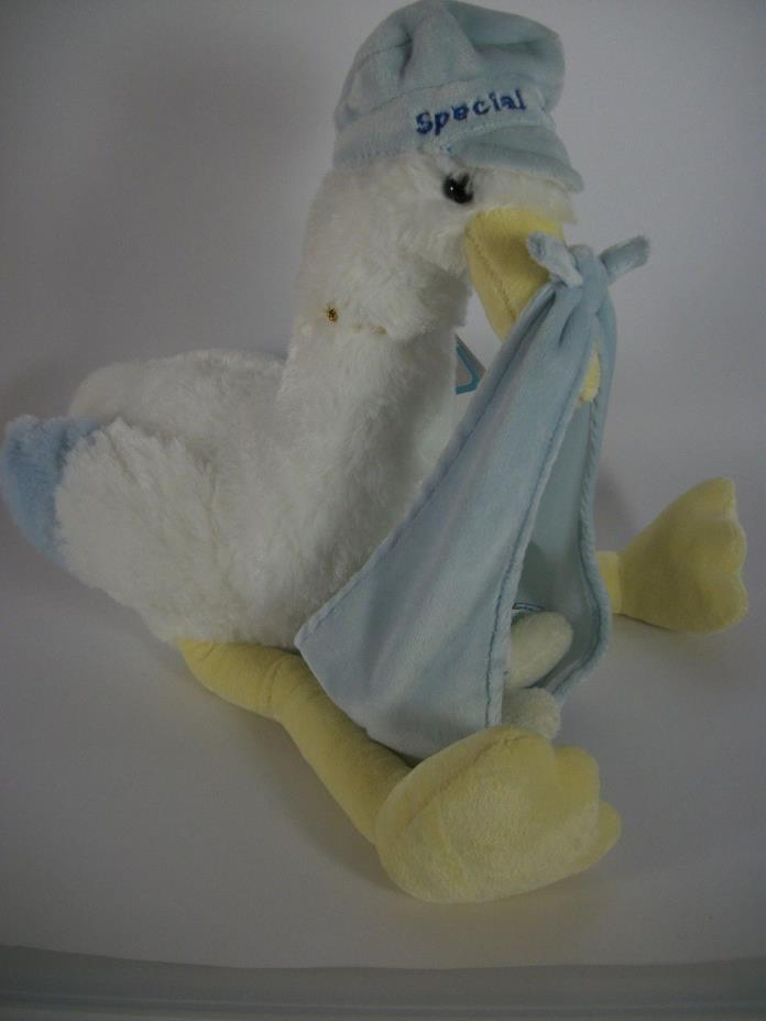Aurora Baby SPECIAL DELIVERY Plush Stork Bird  w Baby Bear Blue Boys