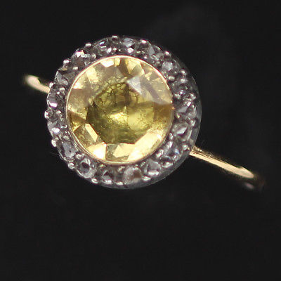 Antique Georgian French Ring 18k Gold Silver Citrine Diamonds c 1800 (#6234)