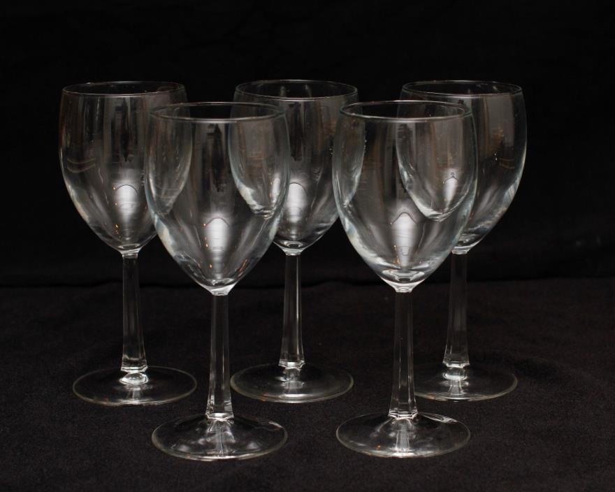 French Standard White Wine Crystal Glass Clear Beveled Stem set 5 lot Vintage