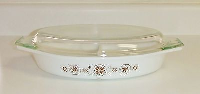 989~Vintage Pyrex White w/Brown Glass Town & Country Divided Dish With Lid**