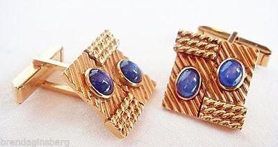 Tiffany & Co Cufflinks 14k Gold Sapphire Gentleman Man's Jewelry Vintage (#4760)