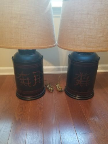 100 year old antique 1900 English Toleware Tea tin caddy lamps w/ Japanning