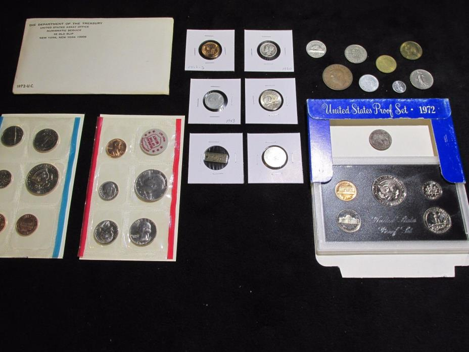 COINS LOT MINT+PROOF +1920 90% SILVER DIME+WHEAT~NO JUNK DRAWER NO RESERVE~~#B57