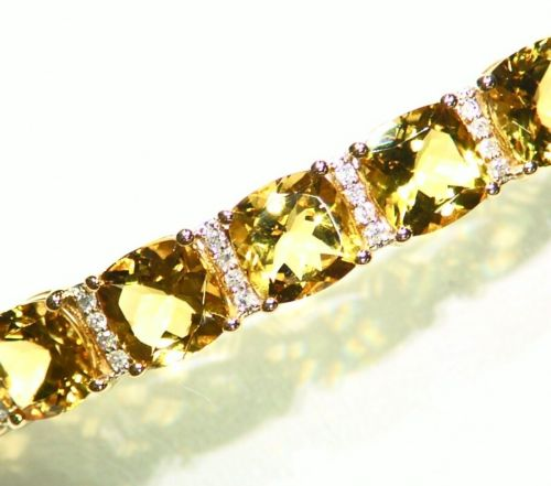 11.91CT 14K Gold Natural Beryl White Diamond Vintage Engagement Bangle Bracelet