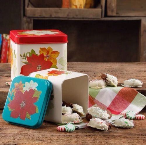 The Pioneer Woman Poinsettia 2 Piece Square Cookie Canister Set