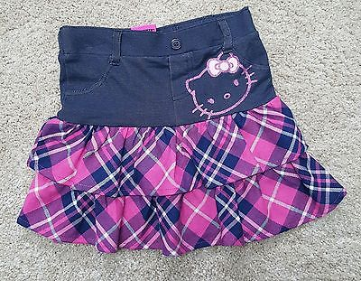 Hello Kitty Girl Toddler New Fashion Skirt Size Denim Ruffle Pink 6/6X Plaid