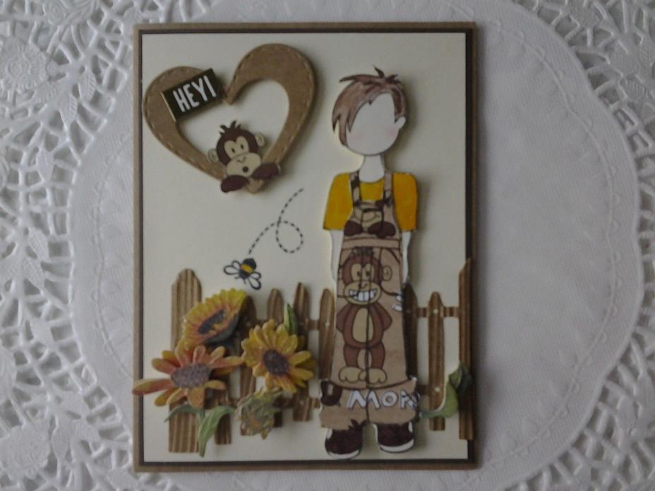Valentine card w/Julie Nutting boy doll & monkey
