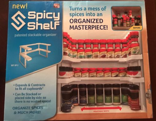 Expandable Stackable Shelves Spices Holder Rack Organizer Kitchen Pantry Storage