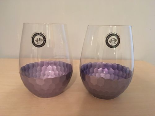Rare GORGEOUS Firz & Floyd LILAC Purple STEMLESS Wine Glasses NEW
