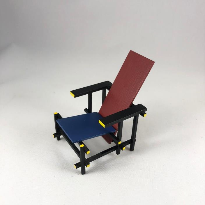 Japan Mini Designer Furniture Chair 1/12 Scale - De Stijl Red and Blue Armchair