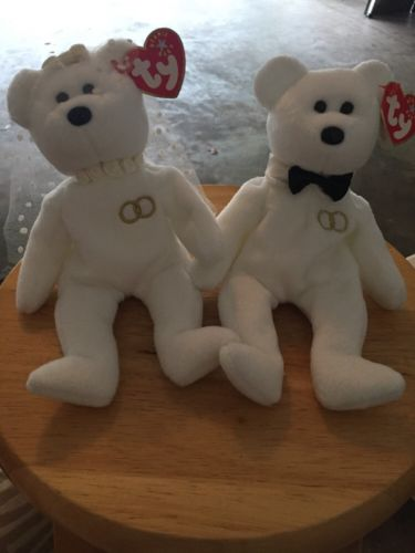 White Bride & Groom Beanie Babies Plush Bears with Ty Beanie Baby Tag