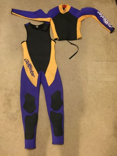 JET GLADIATOR Women's Purple Yellow Scuba Wet Suit Dry Suit 1 Piece & Jacket S