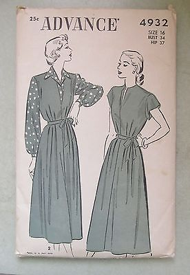 VINTAGE 1940's ADVANCE PATTERN 4932 DAY DRESS jumper BLOUSE SIZE 16