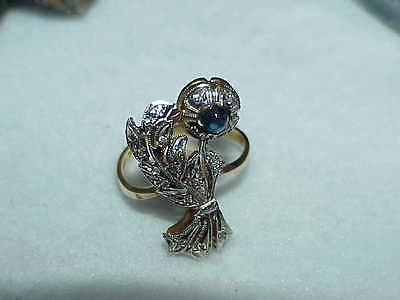 14K Cabochon Sapphire Diamond Filigree Flower Ring White Gold Top Sz 8 Antique